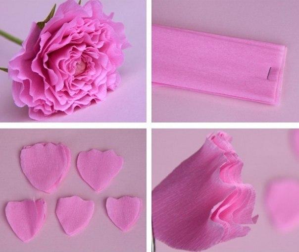 Цветы из бумаги гофрированной своими руками для открытки