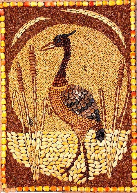 Картины из круп и семян своими руками фото