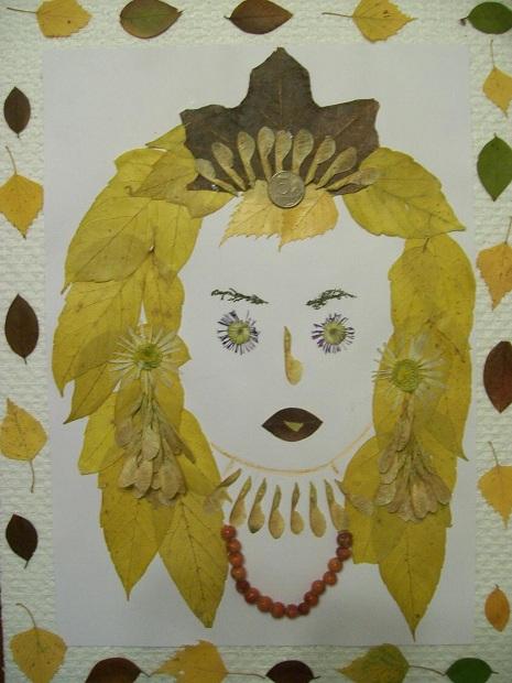 Портрет из листьев на тему осень