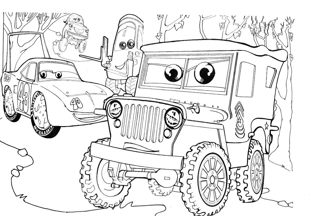 Раскраска про машинки мультфильм